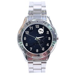 Night Birds And Full Moon Stainless Steel Watch