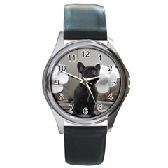 French Bulldog Round Leather Watch (silver Rim) by StuffOrSomething