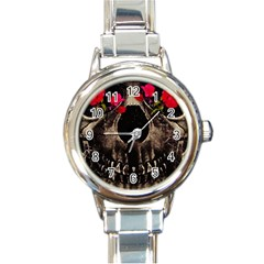 Death And Flowers Round Italian Charm Watch by dflcprints