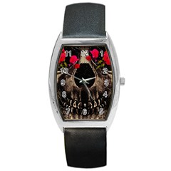 Death And Flowers Tonneau Leather Watch by dflcprints