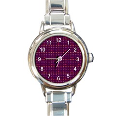 Funky Retro Pattern Round Italian Charm Watch by SaraThePixelPixie