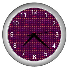 Funky Retro Pattern Wall Clock (silver)