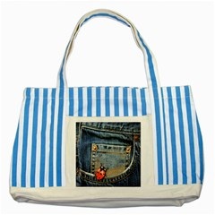 Blue Jean Lady Bug Blue Striped Tote Bag