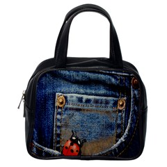 Blue Jean Lady Bug Classic Handbag (one Side) by TheWowFactor