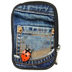 Blue Jean Lady Bug Compact Camera Leather Case by TheWowFactor