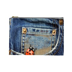 Blue Jean Lady Bug Cosmetic Bag (large) by TheWowFactor