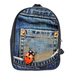 Blue Jean Lady Bug School Bag (large) by TheWowFactor