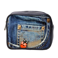 Blue Jean Lady Bug Mini Travel Toiletry Bag (two Sides) by TheWowFactor