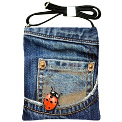 Blue Jean Lady Bug Shoulder Sling Bag