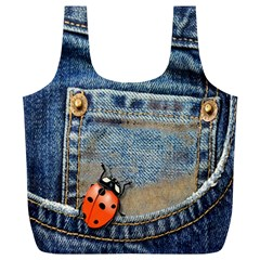 Blue Jean Lady Bug Reusable Bag (xl) by TheWowFactor