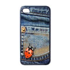 Blue Jean Butterfly Apple Iphone 4 Case (black) by AlteredStates
