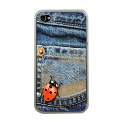 Blue Jean Butterfly Apple Iphone 4 Case (clear) by AlteredStates