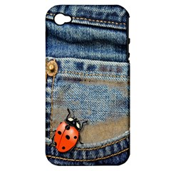 Blue Jean Butterfly Apple Iphone 4/4s Hardshell Case (pc+silicone) by AlteredStates