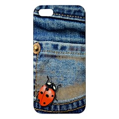 Blue Jean Butterfly Apple Iphone 5 Premium Hardshell Case by AlteredStates