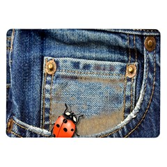 Blue Jean Butterfly Samsung Galaxy Tab 10 1  P7500 Flip Case by AlteredStates