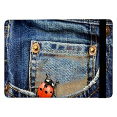 Blue Jean Butterfly Samsung Galaxy Tab Pro 12 2  Flip Case by AlteredStates
