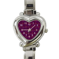 Funky Retro Pattern Heart Italian Charm Watch  by SaraThePixelPixie