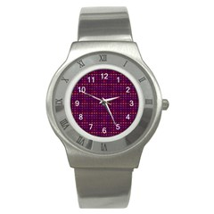 Funky Retro Pattern Stainless Steel Watch (slim) by SaraThePixelPixie