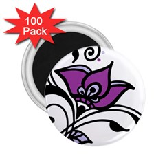 Awareness Flower 2 25  Button Magnet (100 Pack) by FunWithFibro