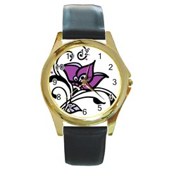 Awareness Flower Round Leather Watch (gold Rim)  by FunWithFibro