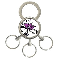 Awareness Flower 3 Ring Key Chain by FunWithFibro