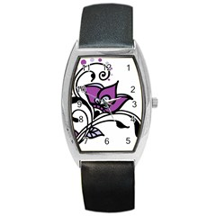 Awareness Flower Tonneau Leather Watch by FunWithFibro