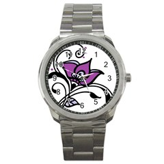 Awareness Flower Sport Metal Watch by FunWithFibro