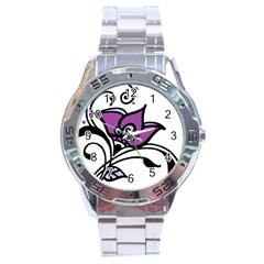 Awareness Flower Stainless Steel Watch by FunWithFibro