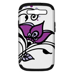 Awareness Flower Samsung Galaxy S Iii Hardshell Case (pc+silicone) by FunWithFibro