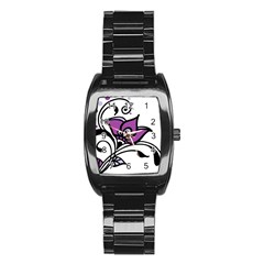 Awareness Flower Stainless Steel Barrel Watch by FunWithFibro