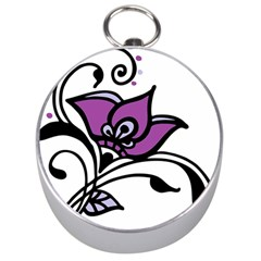 Awareness Flower Silver Compass by FunWithFibro