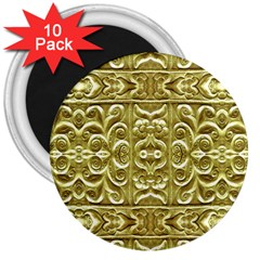 Gold Plated Ornament 3  Button Magnet (10 Pack) by dflcprints