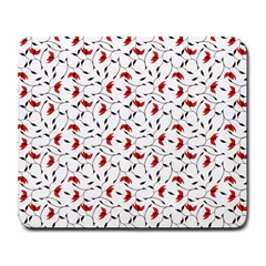 Delicate Red Flower Pattern Large Mouse Pad (rectangle) by CreaturesStore