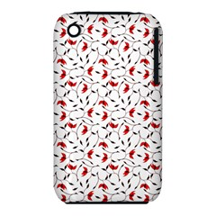 Delicate Red Flower Pattern Apple Iphone 3g/3gs Hardshell Case (pc+silicone)