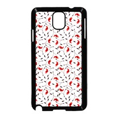 Delicate Red Flower Pattern Samsung Galaxy Note 3 Neo Hardshell Case (black) by CreaturesStore