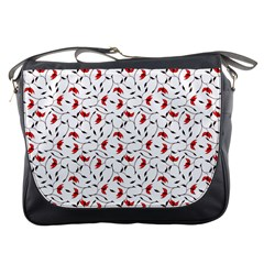 Delicate Red Flower Pattern Messenger Bag by CreaturesStore