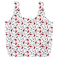 Delicate Red Flower Pattern Reusable Bag (xl) by CreaturesStore
