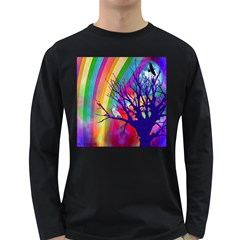 Rainbow Moon Men s Long Sleeve T Shirt (dark Colored) by SaraThePixelPixie