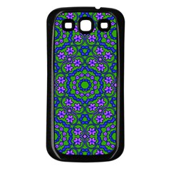 Retro Flower Pattern  Samsung Galaxy S3 Back Case (black) by SaraThePixelPixie