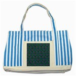 Retro Flower Pattern  Blue Striped Tote Bag Front