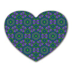 Retro Flower Pattern  Mouse Pad (heart) by SaraThePixelPixie