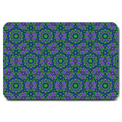 Retro Flower Pattern  Large Door Mat by SaraThePixelPixie