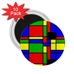Mondrian 2 25  Button Magnet (10 Pack) by Siebenhuehner