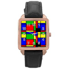 Mondrian Rose Gold Leather Watch  by Siebenhuehner