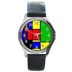 Mondrian Round Leather Watch (silver Rim) by Siebenhuehner