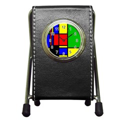 Mondrian Stationery Holder Clock by Siebenhuehner