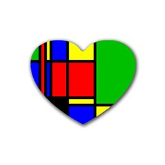 Mondrian Drink Coasters 4 Pack (heart)  by Siebenhuehner