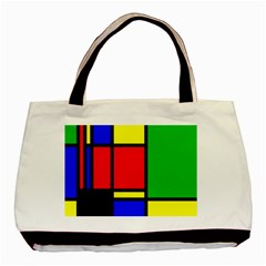 Mondrian Twin Sided Black Tote Bag by Siebenhuehner