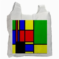 Mondrian White Reusable Bag (two Sides) by Siebenhuehner