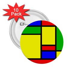 Mondrian 2 25  Button (10 Pack)